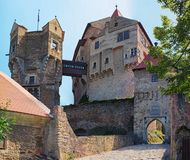 The watch tower in Pernstejn Castle. This castle built on a rock above the village of Nedvedice, South Moravian Region. Czech Republic stock images