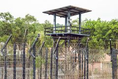 Watch tower at the Prison in the tropics stock photography