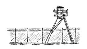 Watch tower in prison Royalty Free Stock Photo