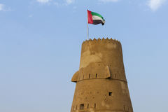 Watch Tower in Ras Al Khaimah - United Arab Emirates. Watch Tower in Jazirath Al Hamra - Ras Al Khaimah, UAE stock photo