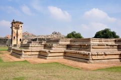 Watch tower of royal fort in Hampi, India royalty free stock image