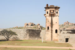 Watch tower of royal fort Zenana Enclosure at Hampi. On India stock photography