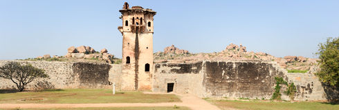 Watch tower of royal fort Zenana Enclosure at Hampi. On India royalty free stock image