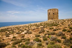Watch tower, Sardinia, Italy. A watch tower near Cala Domestica in the Sulcis area of Sardinia in italy Royalty Free Stock Images