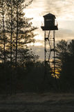 Watch tower at sunrise Stock Images