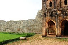 Watch tower. Ruins of queens palace also known as lotus palace at hampi of karnataka state of south india Stock Photography