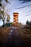 Watch tower in the woods stock image