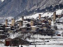 Watch towers in Mestia Georgia. Watch towers in the village of mestia in the republic of Georgia, Europe. with snow and mountains Stock Photography