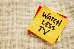 Watch less TV reminder or advice on sticky note Royalty Free Stock Photos