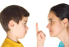 Watch up, mom!. Boy with mother pointing at something - isolated on white royalty free stock photo
