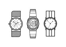 Watch vector lines icons fashion style on white background royalty free illustration