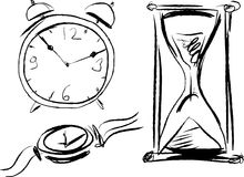 Watch. Vector sketch of different types of hours Royalty Free Stock Photos