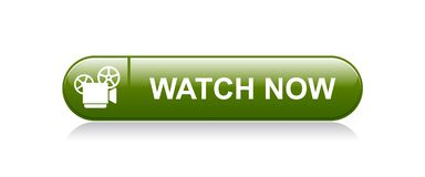 Watch video now. Vector illustration on isolated white background - watch video now icon button vector illustration