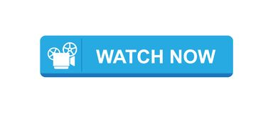 Watch video now. Vector illustration on isolated white background - watch video now icon button stock illustration