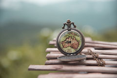 Watch a vintage map Stock Photography