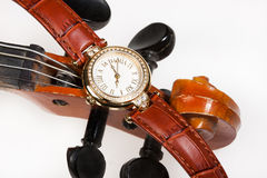 Watch And Violin Royalty Free Stock Photos