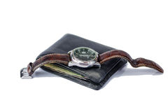 Watch and Wallet Stock Photography