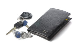 Watch, wallet and keys for car. On the white background with shadow Stock Image