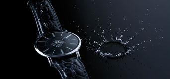 Watch water splash action movement time clock, reflaction, morning, concept. Watch in coffee beans time clock, reflaction, morning, water splash action movement Stock Photography