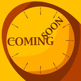 Watch yellow coming soon. Flat shadowed yellow clock with text coming soon. Vector illustration Stock Image