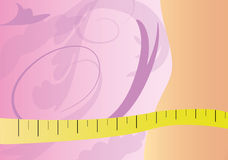 Watch your figure. Woman body with tape measure and flower background Stock Images