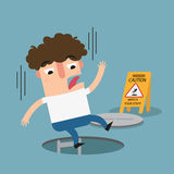 Watch your step caution sign. danger of falling Royalty Free Stock Photo