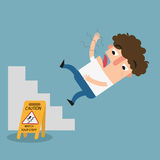 Watch your step caution sign.Danger of slipping isolated illustr Stock Image