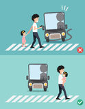 Watch your step.man with child on the crosswalk. Illustration, vector stock illustration