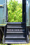 Watch Your Step on Vintage Steam Train Car Stock Photo