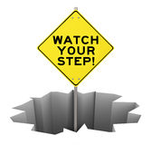 Watch Your Step Warning Sign Hole Danger Risk Mitigation Stock Photography