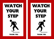 Watch Your Step Warning Sign  Tripping Hazard Stock Images