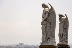 The watchers. Sculptures by Angeles on the top of the hill of Tepeyac, in the basilica of Guadalupe, CDMX royalty free stock image