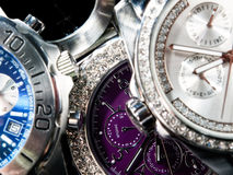 Watches. Macro view of many wrist watches Stock Images