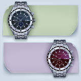 Watches with banner. Photorealistic metal watches with banners on a light background Vector Illustration