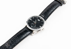 Watches with black leather strap. Men's watches with black leather strap Stock Image