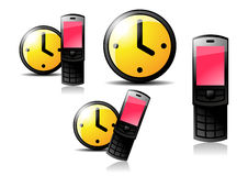 Watches and cellphone. The picture of yellow watches and pink cellphone Stock Photo