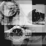 Watches composition. Black and white watches composition Stock Images