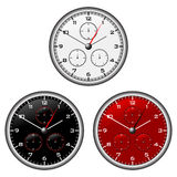 Watches dials. With different face colours over white Royalty Free Stock Photo