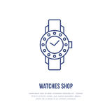 Watches with diamonds illustration. Wristwatch flat line icon, clock store or repair service logo. Expensive accessories Royalty Free Stock Photos