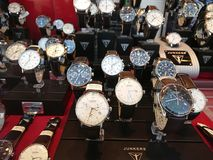 Watches displayed in store window. Berlin, Germany - March 2, 2018: Watches displayed in store window Royalty Free Stock Photo