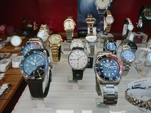 Watches displayed in store window. Berlin, Germany - March 2, 2018: Watches displayed in store window Stock Photo
