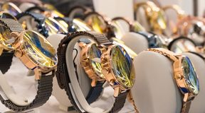 Watches in a luxury store stock photo