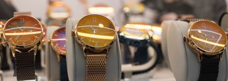 Watches in a luxury store royalty free stock photography