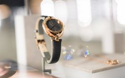 Watches in a luxury store royalty free stock images