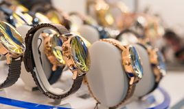 Watches in a luxury store royalty free stock photos