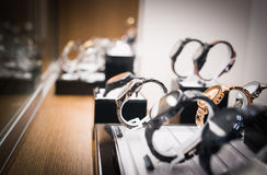 Watches in a luxury store Stock Images