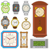 Watches set. Colorful vector illustration Royalty Free Stock Photo