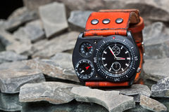 Watches with several dials and leather bracelet Stock Images