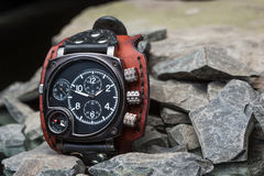 Watches with several dials and leather bracelet Royalty Free Stock Photos