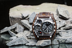 Watches with several dials and leather bracelet Royalty Free Stock Photo